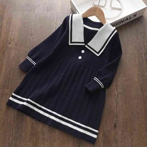 Melario Girls Sweater Dress New Autumn Winter Girl Princess Dresses Knited Outfits Kids Children Preppy Clothing 2 6 Years 210412