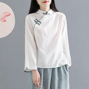 Traditional Chinese Clothing Cotton Linen Shirt Blouse Vintage Lady Solid Tops Oriental Hanfu Style Women Ethnic