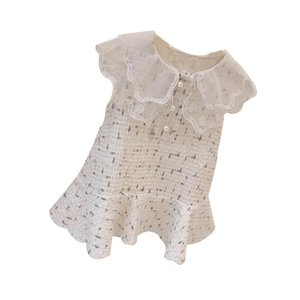 Children's Clothing Spring Autumn Girls Fashion Woolen Sleeveless Vest Dress Casual Baby Princess Dress Trend Lace Top 3-10 Years Old