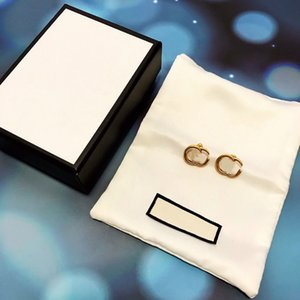 Chic Double Letter Charm Earrings With Gift Box Embossed Stamp Studs Eardrop For Women Party Anniversary