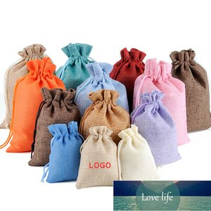 20Pcs lot Drawstring Natural Burlap Bag Satin Jute Gift Jewelry Packaging Wedding Bags with Candy Storage