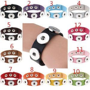 Leather wrap 3 Snap Button Charm bracelets 18MM Noosa Ginger Snaps Interchangeable Bangle For women Men DIY Jewelry Gift DHL