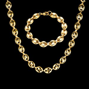 2021 HIP Hop Width 11MM Stainless Steel Gold Coffee Beans Link Chain Necklace Bracelets For Men Jewelry