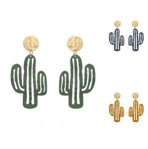 Personality Trend Jewelry Cactus Pendant Earrings Browm Dark Blue Green Large Size Ear Stud Party Vacation Earring