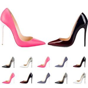 Mulheres Vestido Sapatos Vermelho Bottom High Saltos Mulheres Luxurys Designers Genuíno Bombas de Couro Senhora Sandálias Casamento Bottoms com caixa 041005