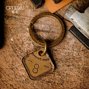 COPPERTIST.WU Soviet Union Dog Tag Military Keyrings CCCP Army Key Ring Metal Car Keychain Men Gift Handmade Brass Pendant 210409
