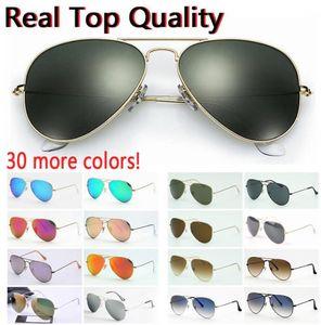 1pcs designer brand new classic pilot sunglasses fashion women sun glasses UV400 gold frame green mirror 58mm lens 3025 with box