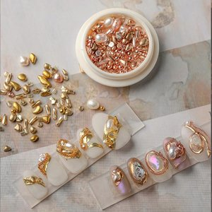 1box Natural Shaped Pearls Sea Shell Stone Nail Studs Nails Art Parts For UV Gel Polish Decoration Of Accessories Decorations