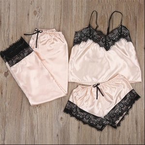 Womens Tracksuits Summer Women Clothes Set Sexy Pajamas Silk Sleepwear Sling Clothing Sleveless Crop Top Shorts Pants Fashion Ladies Sets