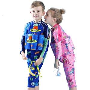 2021 Neue Kinder einteilige Mädchen Nette Jungen Badeanzug Sonnencreme Auftriebsschwimmanzug gerade