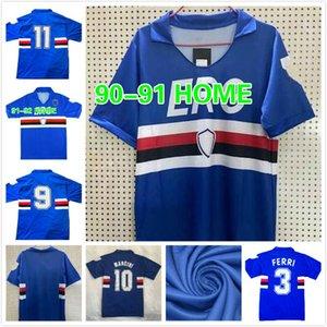 Retro 1990 991 Sampdoria Mancini Jerseys Vialli Rshirts Italia Calcio Maglia Camisas de futebol Praet Linetty Jeison Murillo Gabbiadini