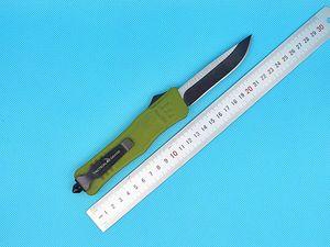 녹색 자동 전술 나이프 440C 스틸 블레이드 Zn-Al 합금 핸들 나일론 가방 제안 다른 손잡이 색 및 블레이드 스타일