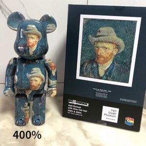 Van gogh 400% Bearbrick Action Toy Figures Perfect restoration Building block bear Javier Calleja PVC Hand-made model