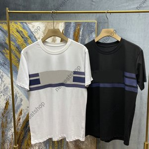 2021 Yeni Bahar Yaz Lüks Mektup Baskı T Shirt Erkek Çift Katı Renk Nefes Şerit Baskı T Gömlek Casaul Tasarımcı T-shirt