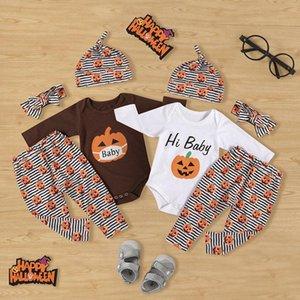 Çocuklar Giyim Setleri Kızlar Cadılar Bayramı Kıyafetler Bebek Kabak Baskı Tops + Şerit Pantolon + Şapka + Kafa Bandı 4 adet / takım Bahar Sonbahar Butik Moda Bebek Giysileri