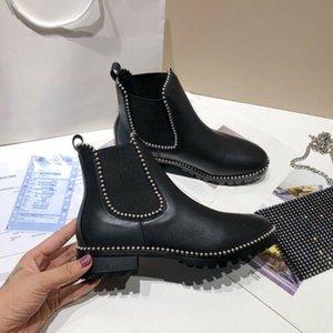 Роскошный дизайнер женские наполовину сапоги обувь зимний коренастый Med каблуки простые квадратные пальмы ног обуви дождевые ZIP женщин середины теленка добыча износа устойчивый к толщему сосущему ботинку A116