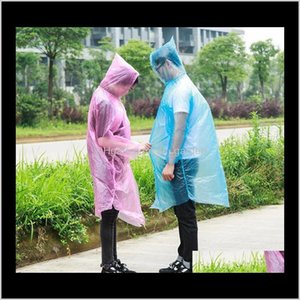 Raincoats Household Sundries Home & Garden Drop Delivery 2021 Disposable Raincoat Adult Waterproof Hood Poncho Travel Camping Must Rain Coat