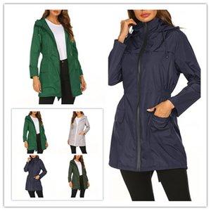 여성 야외 윈드 브레이커 재킷 여성 가을과 겨울 슬림 중간 롱 코트 패션 풍력 차단기 등산 정장 L-10-0015