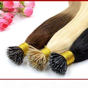 """18 """"20"""" نانو حبة الشعر تمديد الشعر البشري الشريط ملحقات أومبير 1G S 100G 100Beads الأسهم 100٪ هندي ريمي الشعر البشري"""