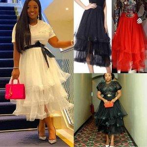 Skirts 2021 High Street Ruffles Ankle Length Tulle Skirt Women Tiered Fashion Summer Custom Made Female Maxi
