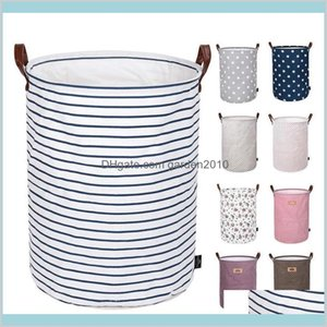 Storage Bags Home & Organization Housekeeping Garden Foldable Basket Kids Toys Bins Printed Sundry Bucket Canvas Handbags Clothing Org
