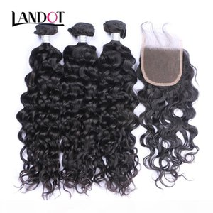 Peruvian Malaysian Indian Brazilian Virgin Hair 3 Bundles with Lace Closure Natural Wave Wet and Wavy Water Wave Curly Mink Human Hair Weave