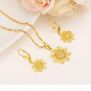 Ethiopian Real 24k Yellow Solid Fine Gold GF FINISH set Jewelry Anise Pendant Chain Earrings African Bride Wedding Star Bijoux