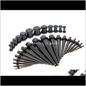 Tappi Tunnels Jewelry Drop Consegna 2021 Body Piercing 18 Vestito Orecchini per borchie Acrilico Resina UV Nero Nero cono cono cono Ampliamento del foro di espansione