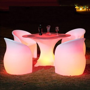 NWE Luminous furniture remote control LED outdoor waterproof cocktail table colorful color changing hotel KTV high-foot bar