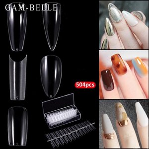 False Nails GAM-BELLE 504Pcs Box Full Fake Nail Artificial Press On Long Ballerina Square Stiletto Oval Clear Tips Manicure Tool