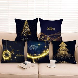 Cushion Decorative Pillow Black Gold Covers Decorative Christmas Cotton Linen Throw Case Cushion Cover Home Sofa Decor Housse De Coussin
