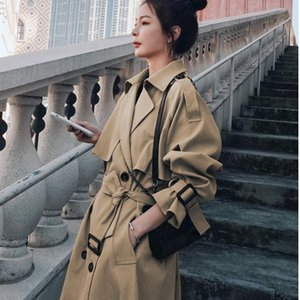 Women's Fashion Windbreaker Middle Long Khaki Korean Loose Knee Length British Style Coat Trench Coats
