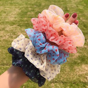 Summer Female Silk Elastic Colorful Fabric Large Cute Small Love Simple Intestine Head Rope Rubber Bands Hair Accessories