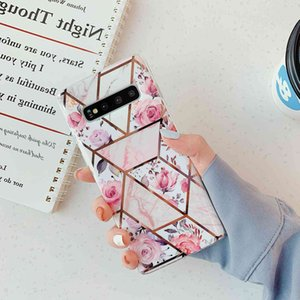 Flower mosaic geometric marble is suitable for S30 plus   A51   A70   s8p silicone plated mobile phone case