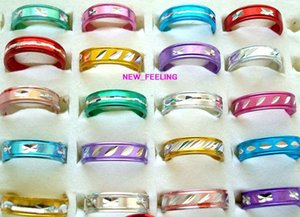 Wholesale 100pcs lot Fashion mixed Colors Round Colorful Plated Aluminium mix Size for Children Jewelry Rings Low Price