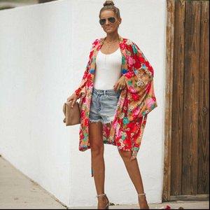 Women Shirts Fashion Casual Floral Print Chiffon Loose Long Sleeve V Neck Shawl Kimono Spring Autumn Cardigan Cover up Shirt