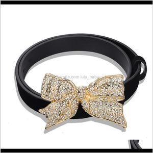Beautiful Sparkling Diamond Rhinestone Bow Casual Leather Belt For Woman Female Trendy Fashion Luxury Designer Clothing 4Exjs Belts Hn34E