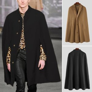 INCERUN Winter Fashion Men Cloak Coats Solid Streetwear Faux Blends Fleece Overcoat Stand Collar Trench Casual Jackets Cape 2021