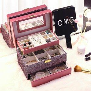 Caja de joyería de tres niveles de lujo con espejo Portátil Maquillaje Organizador Pendientes Anillo Bolsa de almacenamiento Maquillaje Bolsas cosméticas Casos