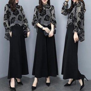 Womens OL Summer 2 Piece Sets Floral Print Flare Sleeve Long Top + Plus Size Black Pants Suit Elegant Women Vintage Women's Tracksuits