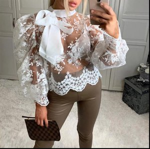 Sexy Women Shirt Lady Crochet Mesh Sheer See Through Long Puff Sleeve Tops Bow Neck Loose Casual Blouse Top