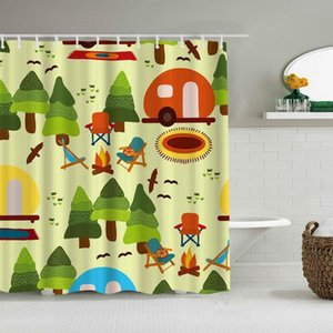 Shower Curtain Camp Scene Trees Caravan Camping Chairs Fire Place Rugs Birds Forest Nature Funny Waterproof Bath Curtains Hooks