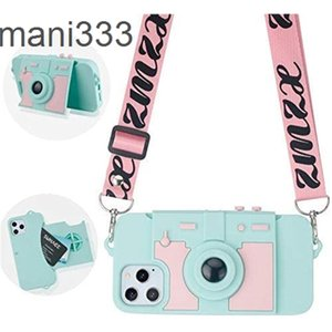 Cute iPhone 12 Pro 6.1 Card Wallet clip lady cool camera design bracket girl case 3D silicone protective cover with sling shoulder