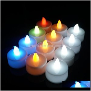 Candles Décor Home Garden Drop Delivery 2021 Led Tea Flameless Tealight Colorful Flame Flashing Candle Lamp Wedding Birthday Party Christmas