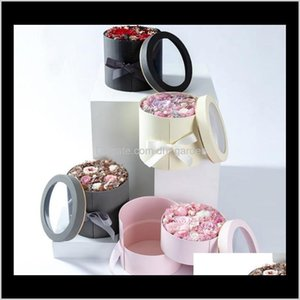 Event Festive Party Supplies Home & Garden Drop Delivery 2021 Double Layer Round Flower Paper Boxes With Ribbon Rose Bouquet Gift Wrap Packag