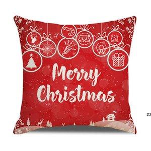 20 colors decorative pillow covers for christmas Halloween linen pillows 45*45CM custom Santa printed leaning pillowcase Cushion HWF10286