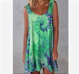 ummer Tie-Dye Printed Womens Clothing Short Skirts Sleeveless Sexy Slip Dresses Fashion Casual Slim Dress Beach