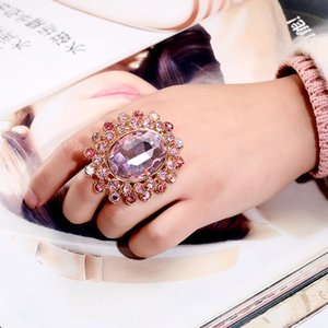 Accessories super large luxury diamond crystal glass lovers adjustable ring
