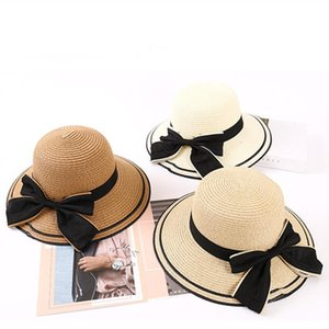 Wide Brim Hats 1Pc Large Bowknot Lady Beach Sun Hat Side Classic Fedora Straw Headgear For Female Seaside Yacht Outdoor Vacation