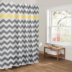 Shower Curtains Easy To Install China Shaoxing Waterproof 100% Polyester Print Modern Wave Geometry Striped Curtain